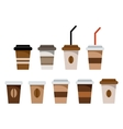 Set of paper glasses for coffee vector image