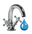 dripping water on faucet vector image