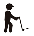 person with cargo cart icon vector image