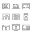web development and wireframes line icons set vector image