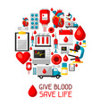 give blood save life background with blood vector image