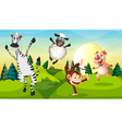 A hilltop with playful animals vector image