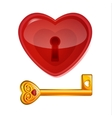 Red lock in the shape of heart vector image