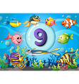 Flashcard number nine with nine fish underwater vector image