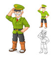 General Army Cartoon Character with Salute Hand vector image