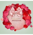 Beautiful vintage invitation with rose petals vector image