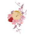 clock heart and roses vector image