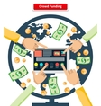 Concept Crowd Funding Banknotes and Coins vector image