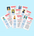 personal resumes of different industry workers vector image