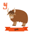 Yak Y letter Cute children animal alphabet in vector image