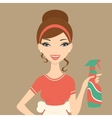 An of a beautiful woman cleaning with vector image vector image