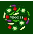 Veggies background with fresh vegetables icons vector image