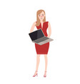 woman standing holding laptop try to sell vector image