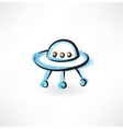 flying saucer grunge icon vector image vector image
