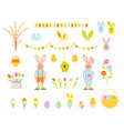 big collection of happy easter objects vector image