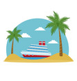 cartoon cruise ship tropical beach palm tree vector image