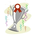 cup trophy with a ward ribbon pinned to it vector image