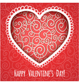 Decorative red heart for Valentines Day vector image