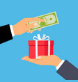 hands with money and gift box vector image