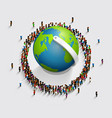 people surrounded the globe 3d isometric vector image