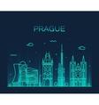 Prague skyline trendy linear vector image