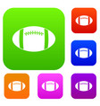 rugby ball set color collection vector image