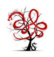 Art tree with dragons for your design vector image