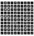 100 landmarks icons set grunge style vector image