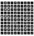 100 landmarks icons set grunge style vector image vector image