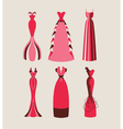 retro and modern woman evening dresses vector image vector image