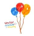 Felt pen childlike drawing of balloons vector image