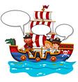 Children riding on viking ship vector image