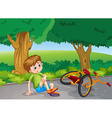 Boy falling down from bike in the park vector image vector image
