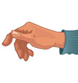 Male hand in blue shirt vector image vector image