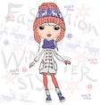 beautiful fashion girl in winter vector image