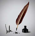 Feather pen ink vector image
