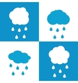 Flat cloud icons with drops on white and blue vector image