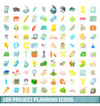 100 project planning icons set cartoon style vector image