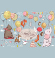 cute animals flying with balloons vector image