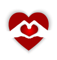 Heart shaped on hands forming a heart shape vector image vector image