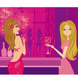 Beautiful disco girls with drinks vector image