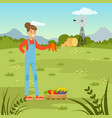 farmer woman harvesting fresh vegetables vector image