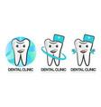 set of dental clinic logo of vector image