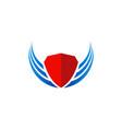shield wing protect logo vector image