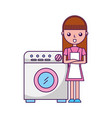 wash machine with woman character vector image