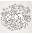 cartoon cute doodles hand drawn rome inscription vector image