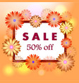 spring sale orange background with blooming vector image