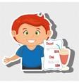 cartoon boy menu food drink vector image