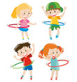 children playing hula hoops vector image
