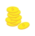 Coins stacked on each other in different positions vector image